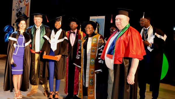 Best Graduating Medical student of V.N Karazin Kharkiv National University, Ukraine, Dr Lateefat Oyeleye; Osun Deputy Governor Mrs Titi Laoye-Tomori (Middle); Vice Chancellor, Osun State University (UNIOSUN) Prof. Labo Popoola (4th left) and other officials of the university, during the 2016/2017 Convocation Ceremony where 50 Students of Uniosun sponsored by Osun Government, Graduated in Ukraine, on Friday 30th June, 2017