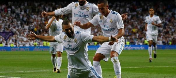Real Madrid's Karim Benzema celebrates scoring their second goal. Photograph: Juan Medina/Reuters