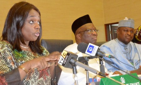 Minister of Finance, Kemi Adeosun speaking at FAAC Meeting in Abuja in Abuja. Photo: NAN