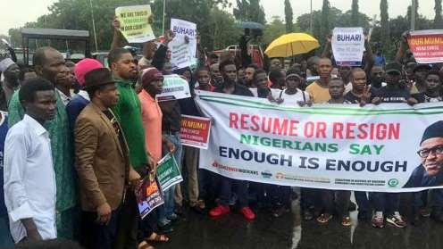 Anti-Buhari protesters in Abuja