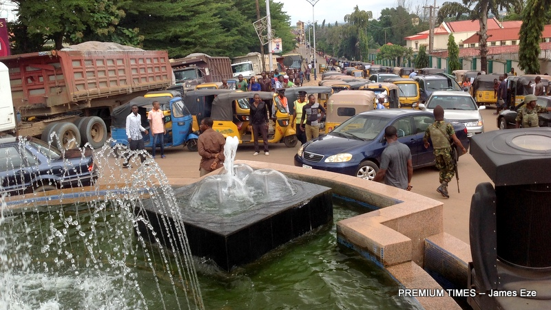 Gridlock caused by the tricycle operators in front of govt House Abakaliki