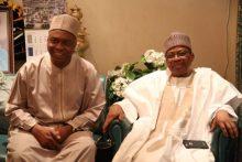 President of the Senate, Bukola Saraki, and former military President, Ibrahim Babangida. [Photo credit: PM News Nigeria]