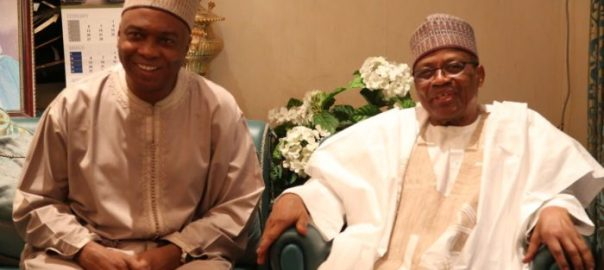 President of the Senate, Bukola Saraki, and former military President, Ibrahim Babangida. [Photo credit: PM News Nigeria]