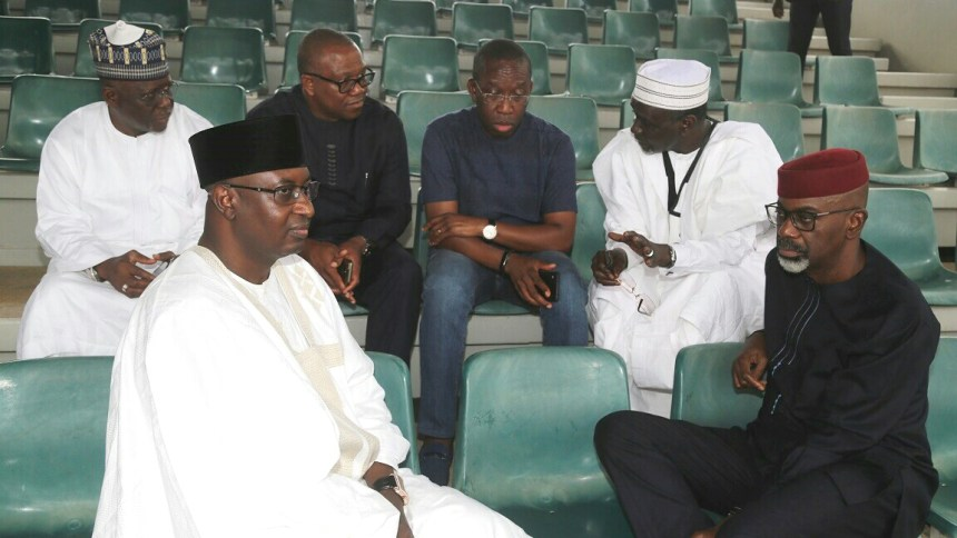 FROM LEFT: Past Governor of Kaduna, Rahaman Yero; Past Governor of Kogi, Idris Wada; Past Governor of Anambra, Peter Obi; Delta State Governor, Senator Ifeanyi Okowa; Past Governor of Kano, Ibrahim Shekarau Past Governor of Cross River, Liyel Imoke