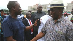 Delta State Governor, Senator Ifeanyi Okowa (left) and Deputy Governor of Bayelsa State, Real. Adm. Gboribiogha Jonah, during the Inspection of Eagle Square Venue, for the PDP Convention at Abuja.