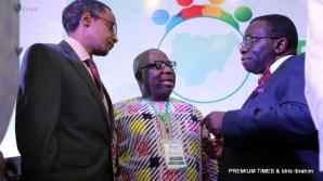 L-R; NACA DG, Sani Aliyu; Premium Times Publisher, Dapo Olorunyomi; Minister of Health, Prof. Isaac Adewole