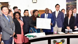 Lagos State Governor, Mr. Akinwunmi Ambode (3rd right); Immediate Past Vice President, International Affairs, Harvard Kennedy School, Toyosi Akerele-Ogunsiji (middle); Gautam Gandhi (3rd left); Allen Asiimire (2nd left); King Tshering (left); Media Lab, MIT, Phil Tinn; Natalie kostich, other students of Harvard Kennedy School of Government during their courtesy visit to the Governor at Lagos House, Ikeja, on Thursday, August 10, 2017.