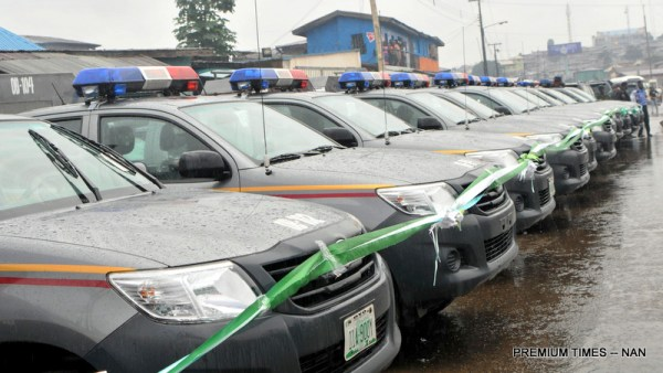 """Security patrol vehicles purchased by Oyo State Government for Re-branded Oyo State Joint Security Task Force named: """"Operation Burst"""", in Ibadan on Friday (4/8/17). 04040/4/8/17/Adeogodiran Timothy/OTU/BJO/NAN"""