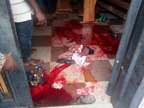 Blood stains at the scene of the deadly shooting at St. Philip's Catholic Church, where an unknown gunman killed 11 persons and injured 18 others during 7:30 am church service in Umuezekwe Ofufe Amakwa community of Ozubulu, Ekwusigo LGA of Anambra on Sunday (6/8/17). 04074/6/8/2017/NAN-ENUGU/JAU/NAN