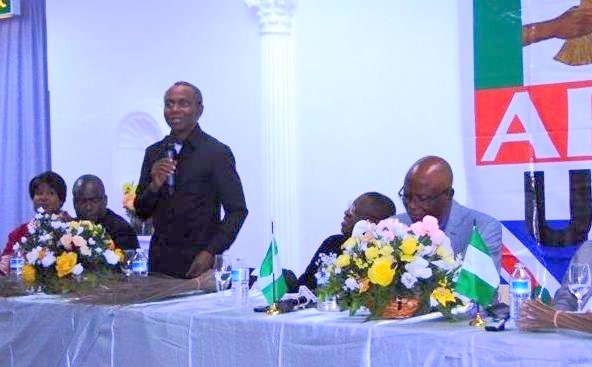 Gov El-Rufai (standing) and Odigie Oyegun (R) [Photo: Trumpet Media Group]