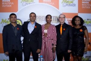From Left to right: Rakesh Sharma (Head of Sales, Godrej Nigeria), Prashant Chacko (Head of Marketing, Africa), Tiwa Savage ( MegaGrowth Brand Ambassador), Mario de la Guardia (President & Founder, Strength of Nature), Ayodele Otujinrin (Marketing Manager, Godrej Nigeria).