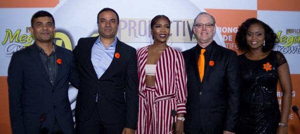 From Left to right: Rakesh Sharma (Head of Sales, Godrej Nigeria), Prashant Chacko (Head of Marketing, Africa), Tiwa Savage ( MegaGrowth Brand Ambassador), Mario de la Guardia (President & Founder, Strength of Nature), Ayodele Otujinrin (Marketing Manager, Godrej Nigeria).