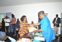 National Organising Secretary of the All Progressives Congress (APC), Sen Osita Izunaso receiving the report of the three-member APC Appeal Committee for the Party's Anambra State Governorship Primaries from the Secretary of the Appeal Committee, Dr. Nosa Aladeselu at the APC National Secretariat on Tuesday in Abuja.