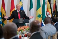 U.S President, Donald Trump in his meeting with African leaders