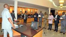 Rivers State Governor, Nyesom Ezenwo Wike  swearing-in  Commissioners at the Government House Port Harcourt on Wednesday.