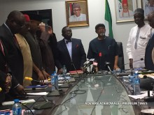 The minister of health, prof. Isaac Adewole and the minister of Labour and employment, Chris Ngige during the meeting with resident doctors, in Abuja on Wednesday.