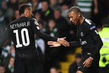 Neymar JR and team-mate, Mbappe celebrate goal
