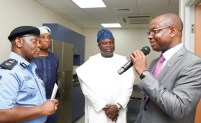 Lagos State Governor, Mr. Akinwunmi Ambode (2nd right); Managing Consultant, Lagos State DNA and Forensic Centre, Dr. Richard Somiari (right); Secretary to the State Government, Mr. Tunji Bello (2nd left) and State Commissioner of Police, Mr. Imohimi Edgal (left) during the commissioning of the Lagos State DNA and Forensic Centre, Lagos Island, on Wednesday, September 27, 2017.