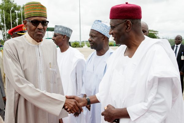 Pic 13. From left: President Muhammadu Buhari; FCT Minister, Malam Bello Mohammad; Gov Ibrahim Damkwambo of Gombe State and Chief of Staff, Alhaji Abba Kyari during the departure of the President to New York, USA for the 72nd United Nations General Assembly at the Nnamdi Azikiwe International Airport in Abuja on Sunday (17/9/17) 49635/17/9/2017/ICE/NAN