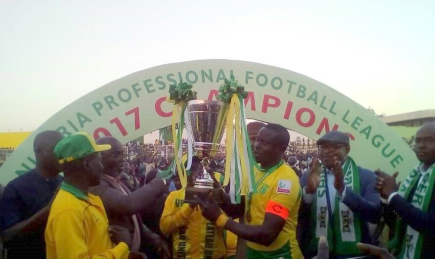 Plateau United celebrating victory against Enugu United in Jos on Saturday