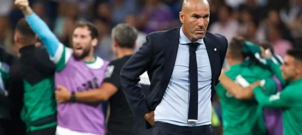 Real Madrid's Zinedine Zidane was left frustrated after Real Betis scored a last-minute winner at the Bernabéu. Photograph: Juanjo Martin/EPA {Photo Source: Guardian}