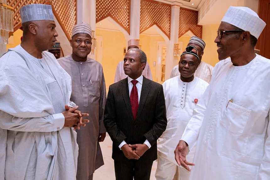 President Buhari in company of Vice President Yemi Osinbajo (Middle), Yakubu Dogara (2nd Left) and Bukola Saraki (Left)
