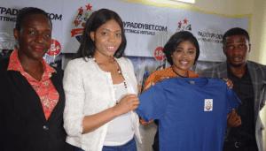LR: Company secretary, Kemi Akinbohun_ HRAdmin Manger of PaddyPaddybet.com, Michelle Inegbese, Nollywood Actress, Eniola Ajao and General Manager, Mr. Alexander Ezekiel