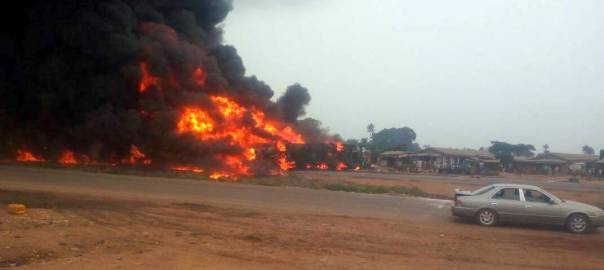 Fuel truck which exploded along Lagos-Ibadan Expressway