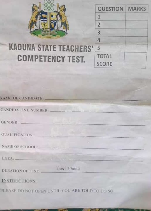PHOTOS: See Primary four questions Kaduna teachers could not