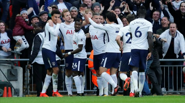 Tottenham celebrates one of their goals in win over Liverpool