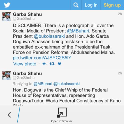 Screenshot of Garba Sehu Twitter page