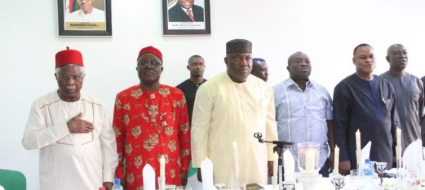 Former Vice President, Dr. Alex Ekwueme; South East Zonal PDP Chairman, Chief Austin Umahi; Governor Ifeanyi Ugwuanyi of Enugu State; his Abia State counterpart; Dr. Okezie Ikpeazu; Deputy Governor of Ebonyi State; Dr. Kelechi Igwe; and the Deputy Senate President, Senator Ike Ekweremadu, during a meeting of PDP Zonal Executive Committee at the Government House, Enugu, yesterday.