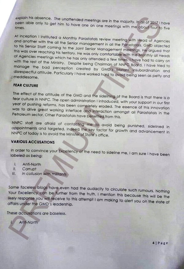 Kachikwu's Letter to PMB-4