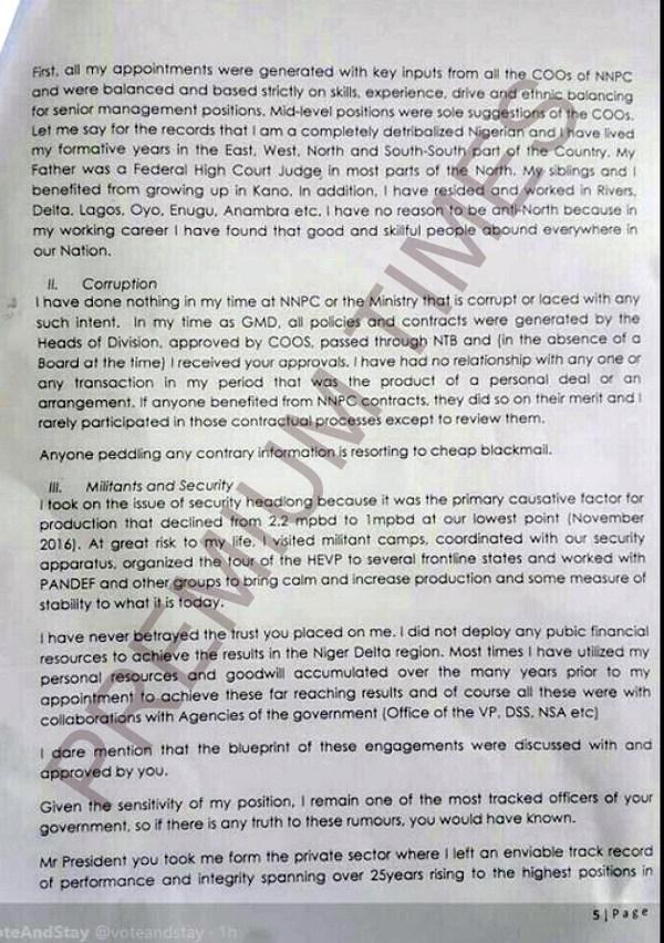 Kachikwu's Letter to PMB-5