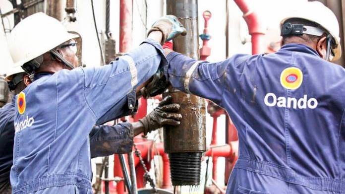 Oando workers at an oil rig