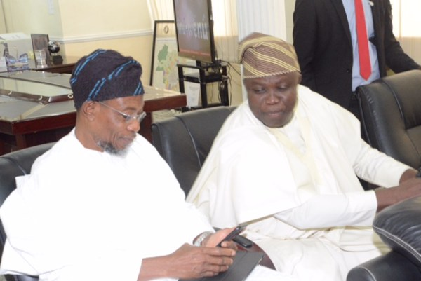 L-R: Osun State Governor, Ogbeni Rauf Aregbesola; and his Lagos State counterpart, Mr. Akinwumi Ambode, during the All Progressives Congress Southwest stakeholders' meeting, held at the Governor's Office, Ibadan... on Thursday. Photo: Oyo State Governor's Office