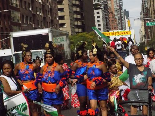Traditional dancers join Nigeria's Independence Day Parade in New York. [Photo credit: NAN]