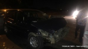 One of the cars involved in the accident [Photo by Nasir Ayitogo, 10/27/2017]