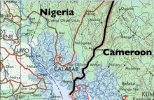 A map showing the border between Nigeria and Cameroon [Photo credit: CrossRiverWatch]