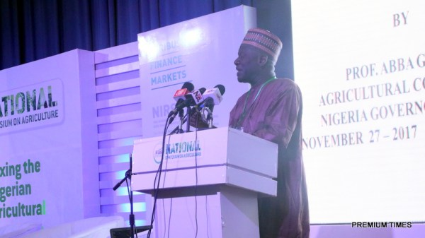 """Prof. Abba Gambo delivering a paper on """"Untangling the bottlenecks towards Nigeria's Agriculture transformation."""""""