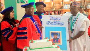 Former Vice-President of Nigeria and Founder of the American University of Nigeria (AUN), His Excellency Atiku Abubakar during the 12th Founder's Day of the AUN. [Photo credit: AUN]