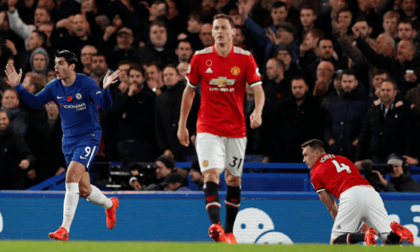 Alvaro Morata reacts after an own goal by Manchester United's Phil Jones is disallowed. Photograph: John Sibley/Reuters