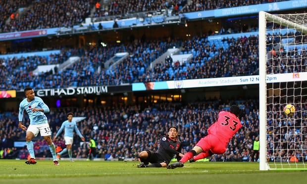Gabriel Jesus scores Manchester City's third goal. Photograph: Tom Flathers/Manchester City FC via Getty Images/Tom Flathers/Manchester City FC via Getty