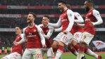 Arsenal celebrates in their win against Tottenham Hotspur