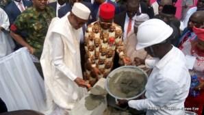 Buhari laying foundation of the new Muhammadu Buhari tunnel in Abakaliki