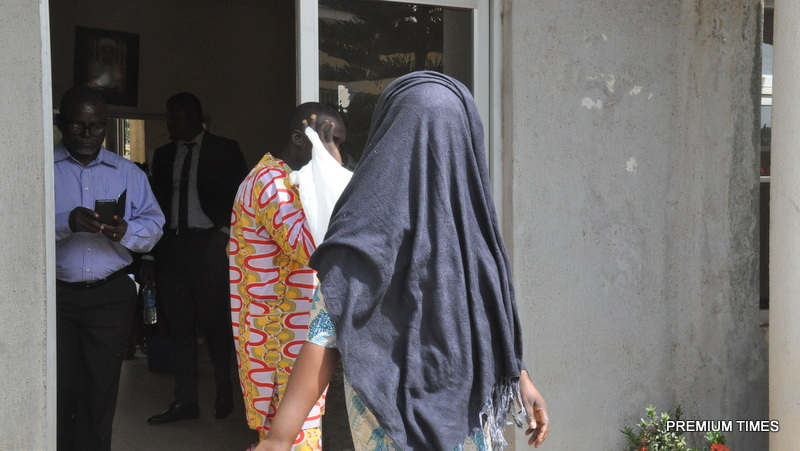 Some of the Payroll fraud suspects at the premises of the Federal High Court, Apo, Abuja shortly before they were taken to their prison custody after they were former charged to court on Wednesday