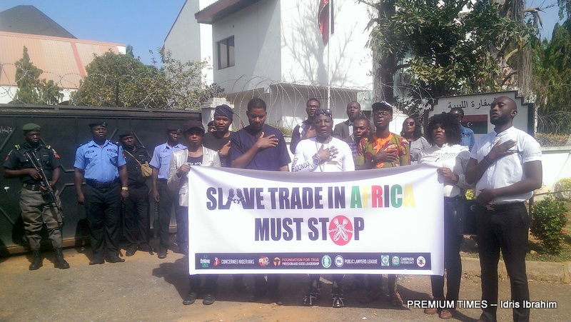 Coalition of activist group Our Mumu Don Do led by Charles Oputa during a sit-out at the Libyan embassy