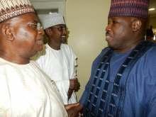 Ali Modu Sheriff and FCT Minister, Mohammed Bello commiserating with Senator Goje