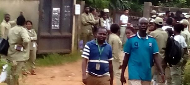Caption: Corps members stranded at Idemili North as at 8:15am.