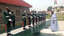 A former President, Olusegun Obasanjo, arrived Abakaliki, inspecting the Guard of Honour mounted by the Nigerian Army.